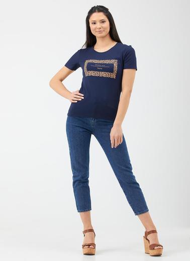 Sementa Sıfır Yaka Kadın Baskılı Tshirt - Lacivert Lacivert